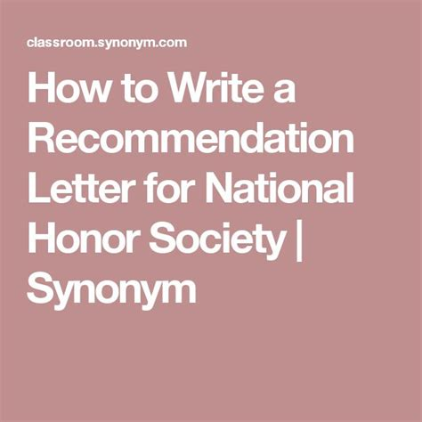 Letter Of Recommendation Synonym the 25 best national honor society ideas on