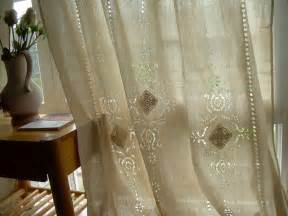 Embroidered Sheer Curtain Tab Top French Country Cotton Linen Crochet Lace Curtain