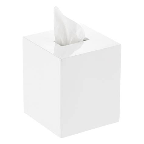 Tissue Cover White Camille white lacquered tissue box cover the container store