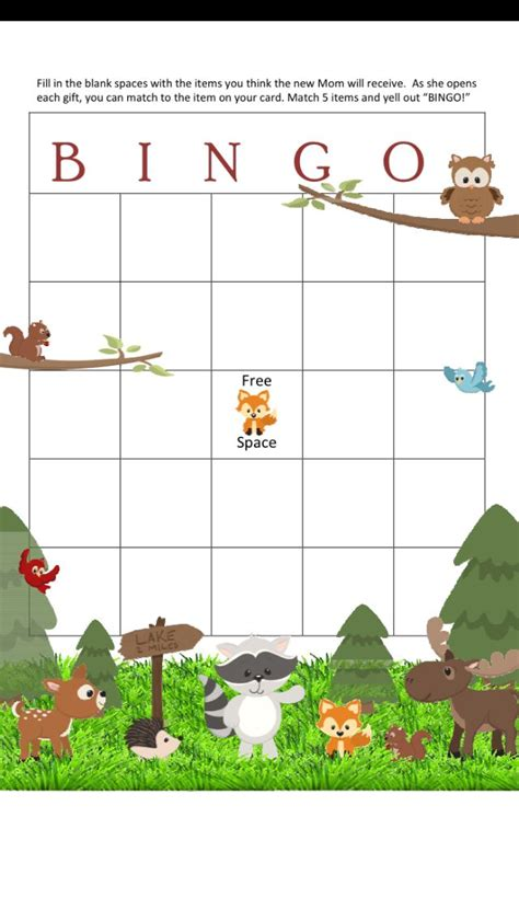theme line forest friend woodland bingo baby shower games woodsy forest friends