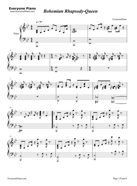 tutorial piano queen bohemian rhapsody bohemian rhapsody queen stave preview 1 free piano sheet