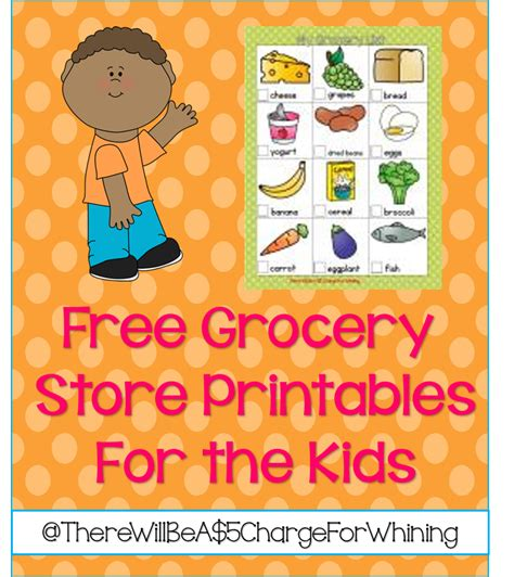 printable shopping list kindergarten there will be a 5 00 charge for whining free grocery