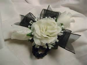 black and white corsage ivory gold blue black ribbon wrist pin corsage wedding prom ebay