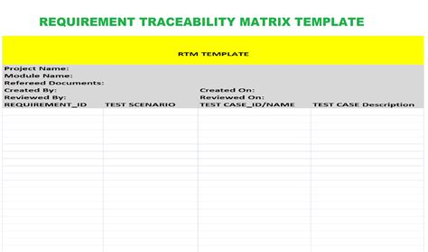 rtm template in software testing gallery templates