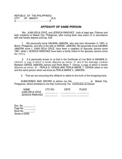 certification letter of same person affidavit of same person sle