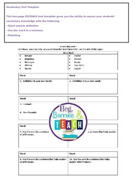 vocabulary test template by beg borrow and teach tpt