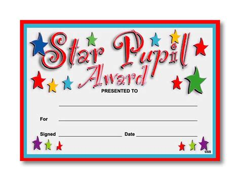 Certificate: Star Pupil Award