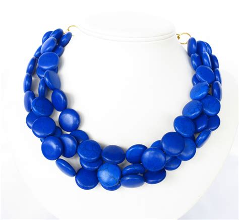 Blue Neckles royal blue necklace chunky cobalt blue by wildflowersandgrace