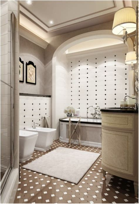 refined bathroom design inspired  coco chanel style