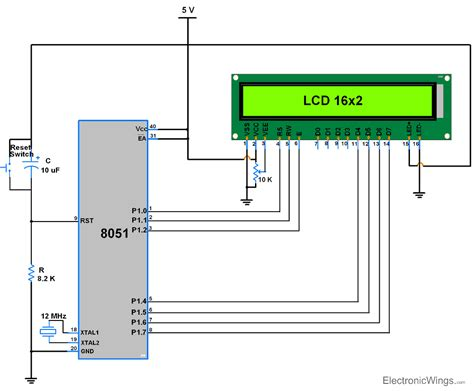 16x2 lcd pin diagram lcd16x2 interfacing in 4 bit mode with 8051 electronicwings