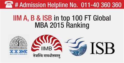 Ft Mba Rankings 2015 Europe by Ft Global Mba Ranking 2015 Iim A Isb Hyderabad And Iim B
