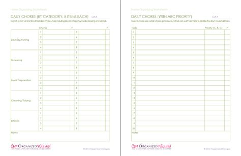 printable home organizing worksheets 8 best images of printable lists for organizing household