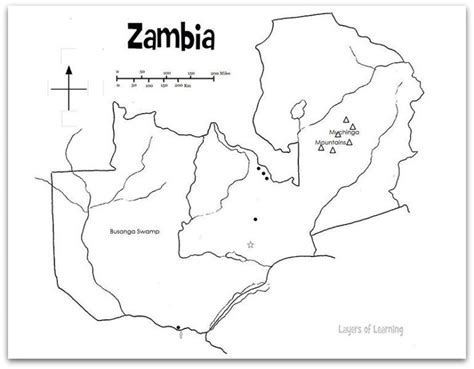 printable map of lusaka map of zambia