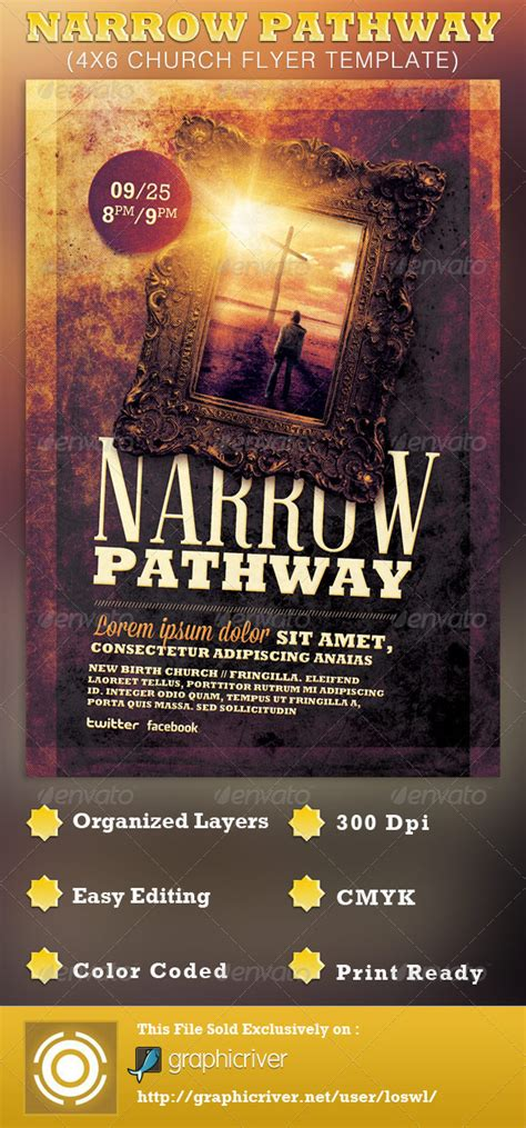 Narrow Pathway Church Flyer Template By Loswl Graphicriver Graphicriver Iii Flyer Template