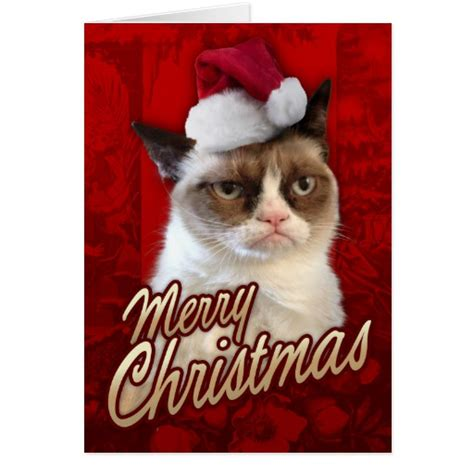 card grumpy cat merry grumpy cat greeting card zazzle