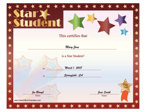 best student certificate template top pupil certificate openoffice template