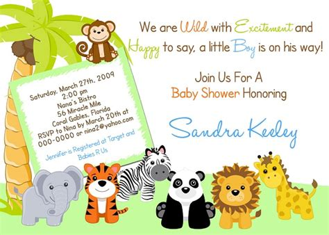 jungle invitation template safari baby shower invitations free template new