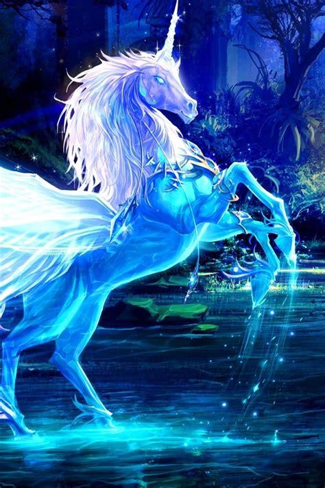 kunst bilder einhorn pferd wasser strahlen wald