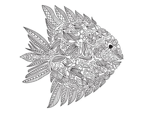 coloring pages of fish for adults free coloring page coloring adult zentangle fish by