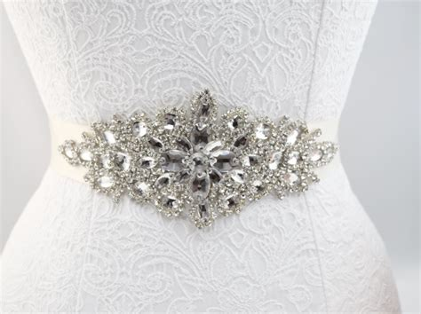 thin ribbon silver diamante bridal wedding dress belt