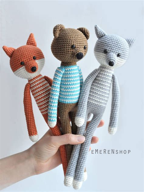 Handmade Baby Toys Patterns - woodland animals fox wolf stuffed toys amgurumi