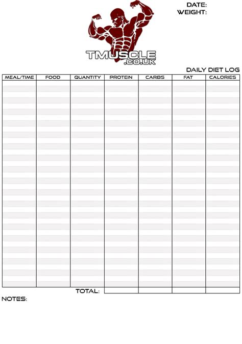 bodybuilding log book templates