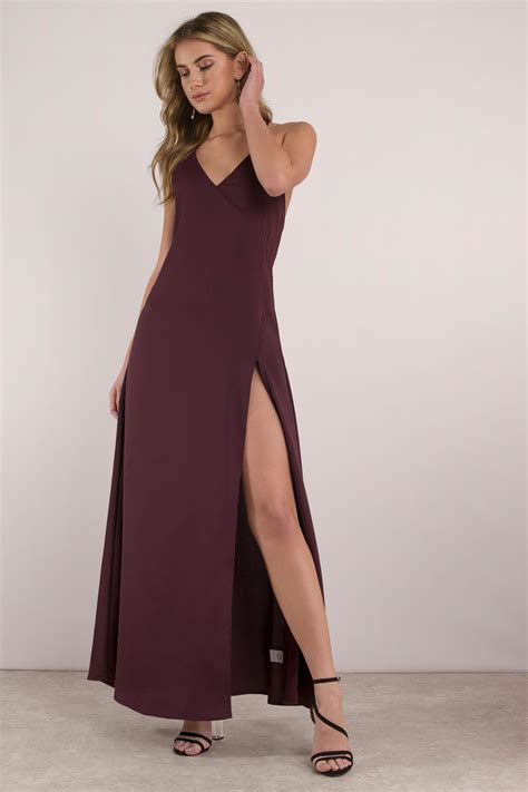Dress Slit wine dress open back dress high slit dress 35