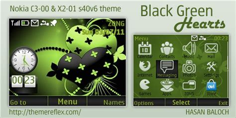 black theme for nokia c3 00 and x2 01 wb7themes black green hearts theme for nokia c3 x2 01 themereflex