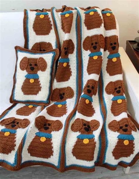 puppy love afghan  pillow crochet pattern maggies