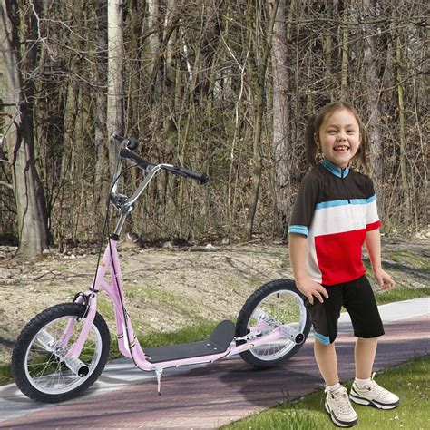 homcom adult teen kick scooter kids children stunt scooter bike bicycle ride   pneumatic