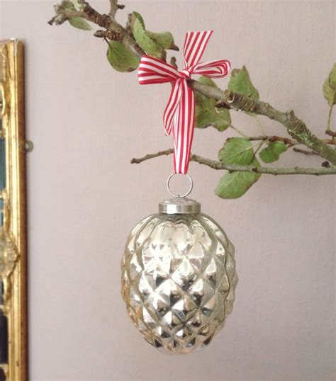 silver glass pine cone fir cone bauble christmas