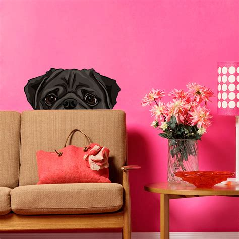 pug wallpaper for walls peekaboo pug wall decal