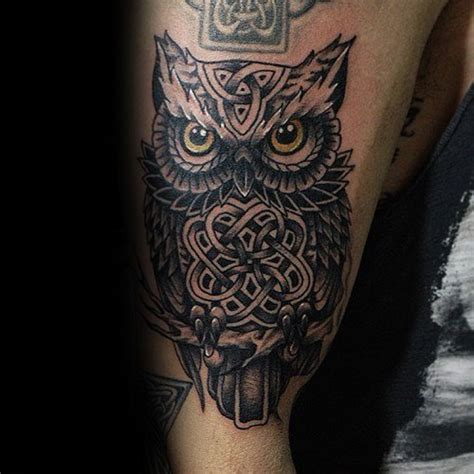 owl tattoo design arm 30 celtic owl tattoo designs for men knot ink ideas