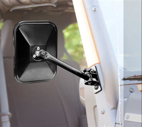 Jeep Doors Mirrors Release Mirrors Pair Black Rectangular 97 16