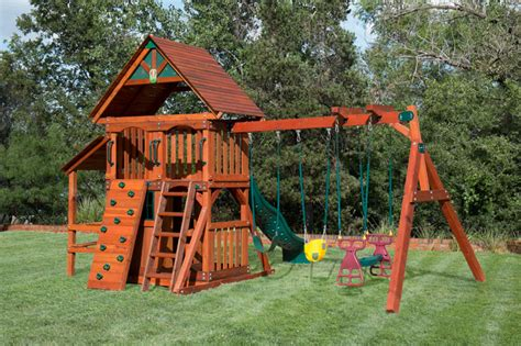 swing set playhouse wooden playset with playhouse swing