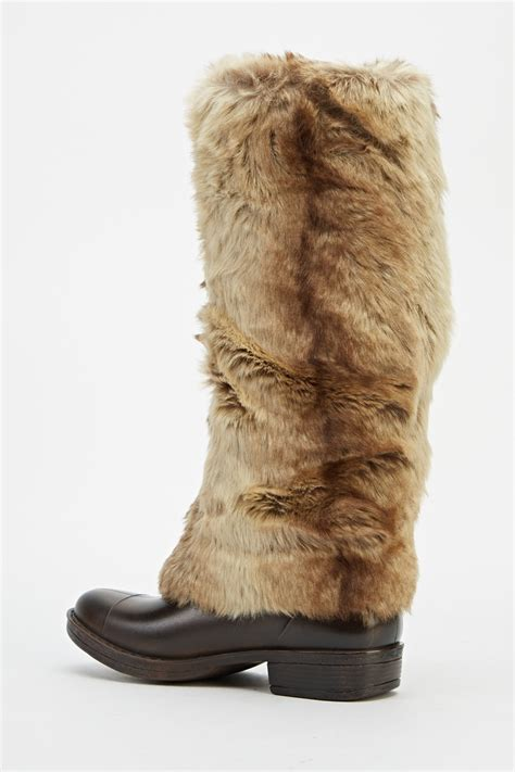 faux fur contrast knee high boots just 163 5