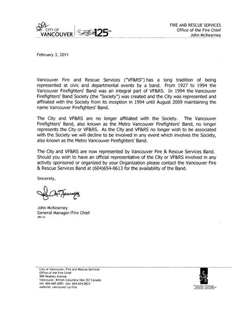 formal statement from the vfrs chief 187 vancouver and rescue services band
