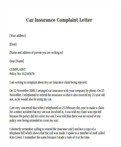Complaint Letter To Insurance Company company car insurance no claims letter template