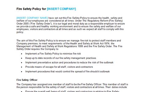 ehs policy template safety bizorb