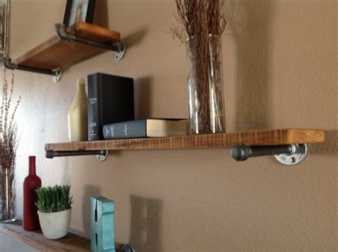 industrial floating pipe shelf for above the coffee bar