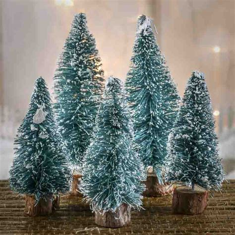 assorted frosted green bottle brush trees christmas