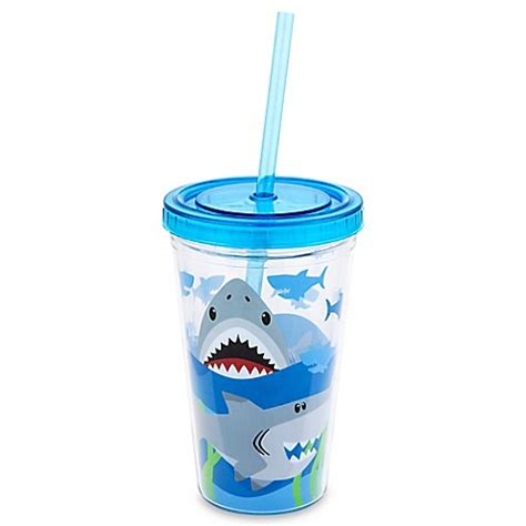 Stephen Joseph Tumbler stephen joseph 12 oz shark tumbler with straw in blue