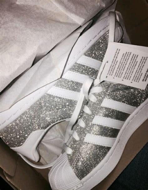 adidas superstar glitzer glitter bling silber weiss