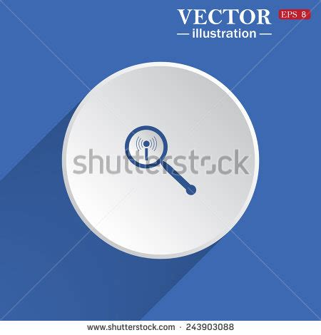 Simple Search Wi Key Icon Bold Blue Circle Border Stock Vector 260729699