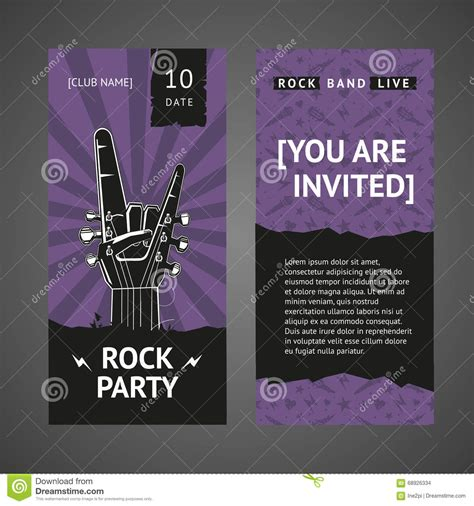 Rock Party Invitation Stock Vector Image Of Fingers 68926334 Rock Birthday Invitation Templates