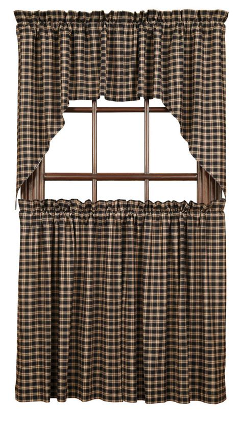 lined cafe curtains bingham plaid tier set lined rustic primitive red black