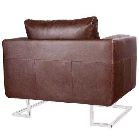 armchair feet luxury cube armchair brown with chrome feet vidaxl com au
