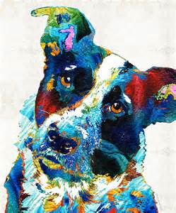 colorful dog art irresistible by sharon cummings