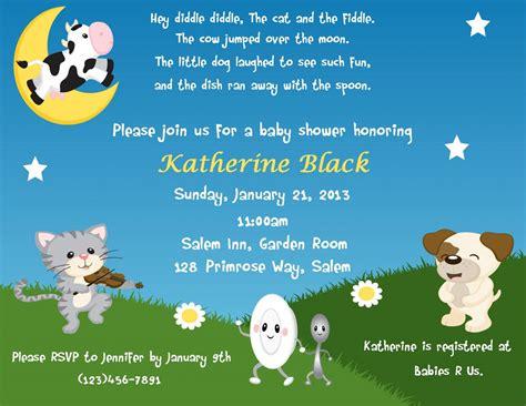 Baby Shower Invite Rhymes by Nursery Rhyme Themed Invitation Digital File