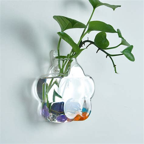 wall mounted flower shaped glass flower vase home garden